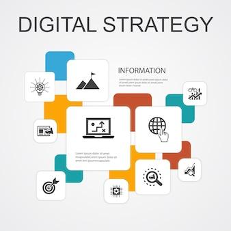 Цифровая стратегия инфографики 10 строк иконки шаблон. интернет, seo, контент-маркетинг, простые значки миссии