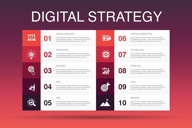 Цифровая стратегия инфографики 10 вариант шаблона. интернет, seo, контент-маркетинг, простые значки миссии