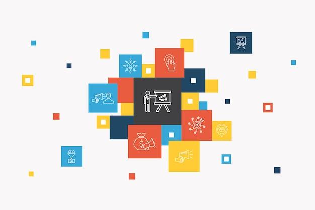 デジタル戦略インフォグラフィックサークルの概念。スマートui要素インターネット、seo、コンテンツマーケティング、使命