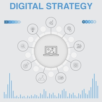 Инфографика цифровой стратегии с иконами. содержит такие значки, как содержит такие значки, как интернет, seo, контент-маркетинг, миссия