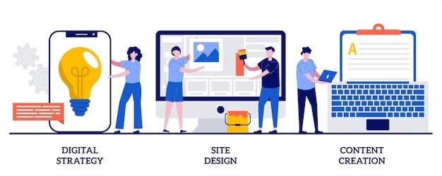 디지털 전략, 사이트 디자인, 콘텐츠 제작 개념. 아웃 바운드 마케팅 세트.