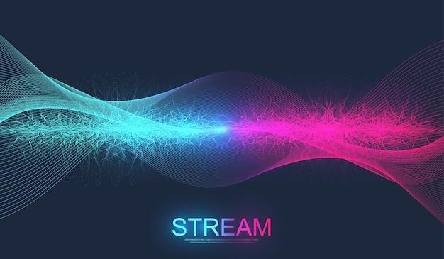 입자가있는 디지털 스트리밍 배경 웨이브 흐름