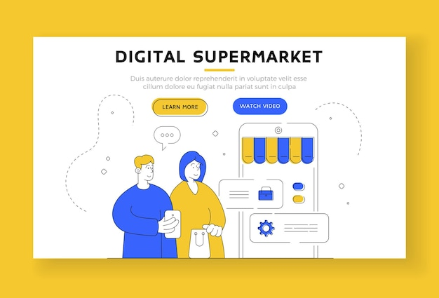 デジタルスーパーマーケットのランディングページのバナーテンプレート。スマートフォンを使って買い物をしながら、オンラインストアアカウントの設定を調整する男女。フラットスタイルのイラスト、細い線画のデザイン