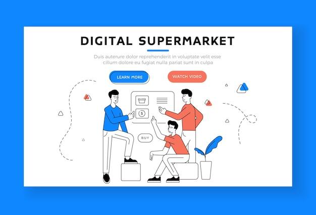 デジタルスーパーマーケットのランディングページのバナーテンプレート。インターネットストアのページを閲覧し、一緒にオンラインショッピングをしながら買い物をする男性
