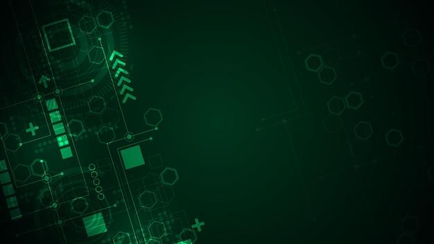 짙은 녹색 배경에서 데이터를 계산하는 디지털 시스템.