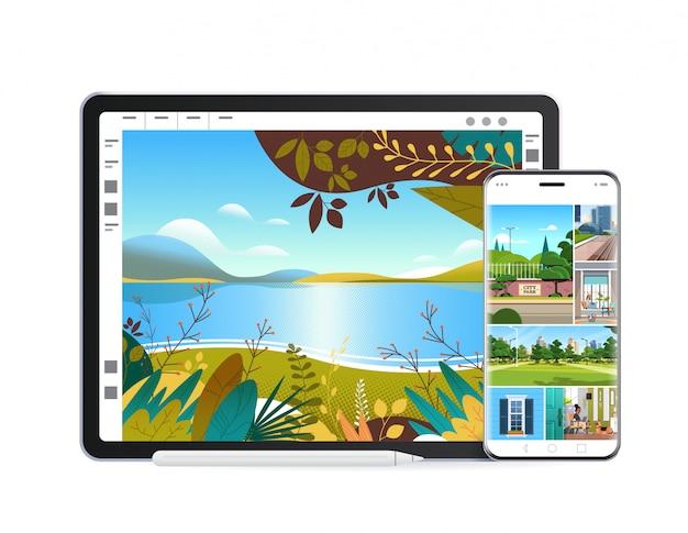 화면에 아름다운 배경 화면이있는 디지털 태블릿 및 스마트 폰 현실적인 모형 가제트 및 장치