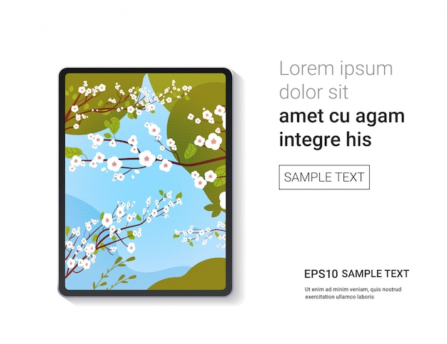 화면 현실적인 모형 기기 및 장치에 아름다운 피는 꽃 벽지와 디지털 태블릿