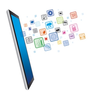 Digital tablet with business technology icon on white background