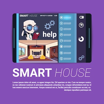 Digital tablet with smart house control app interface, modern technology of home automation concept