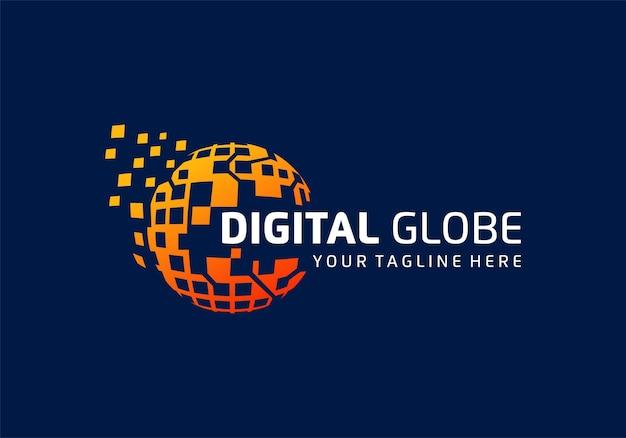Цифровые технологии, шаблон вдохновения для дизайна логотипа технологии данных земного шара