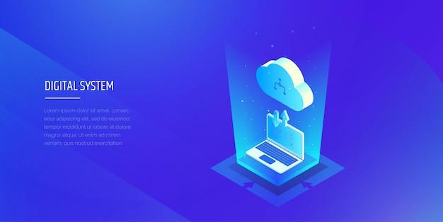 디지털 기술 컴퓨터와 클라우드 간의 정보 교환 프리미엄 벡터