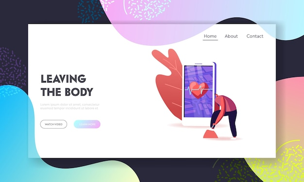 Digital technologies in healthy lifestyle landing page template