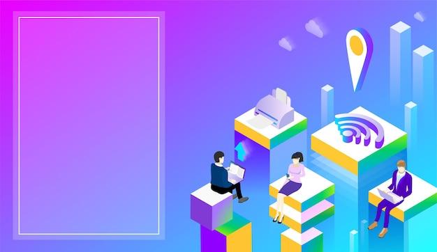 Цифровые технологии офис или студенческий фон с людьми и сетью изометрическая иллюстрация фиолетового спектра целевая страница или шаблон презентации
