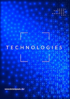 Абстрактный фон цифровых технологий. искусственный интеллект, глубокое обучение и концепция больших данных. техническая визуализация для беспроводного шаблона. аннотация промышленных цифровых технологий.
