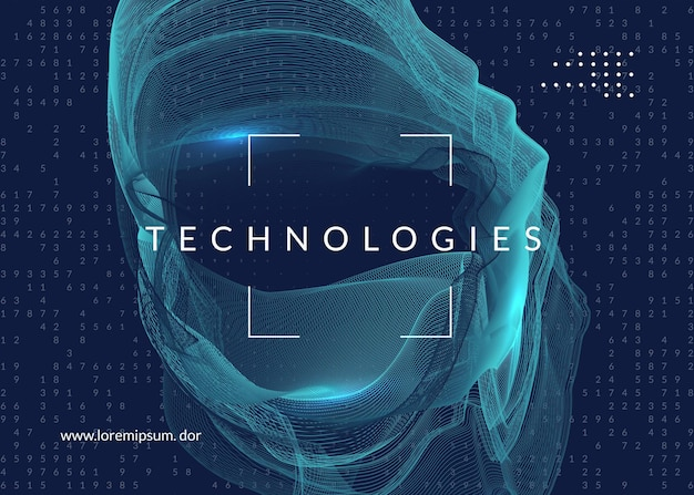 Digital technology abstract background. artificial intelligence, deep learning and big data concept. tech visual for database template. cyber digital technology abstract.