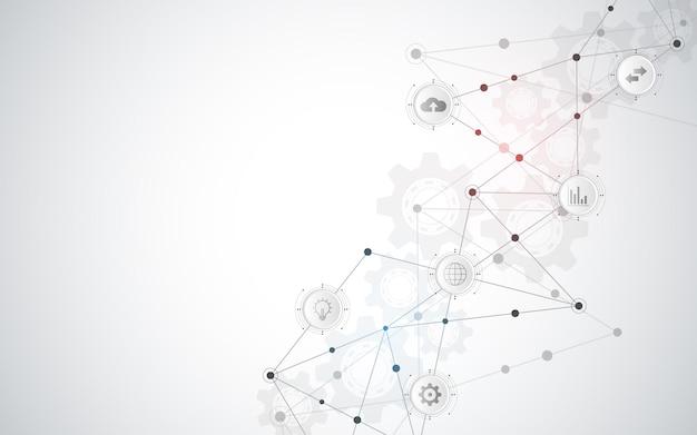 フラットアイコンとデジタル技術と通信の概念