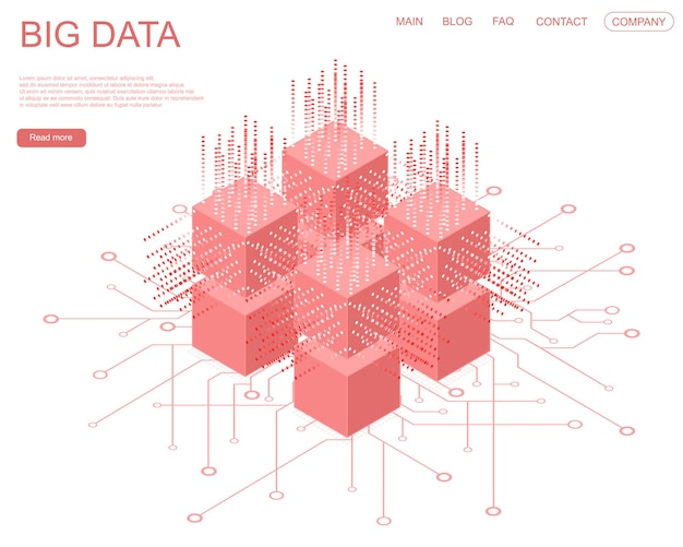 デジタルテクノロジー人工知能webバナー。ビッグデータ機械学習アルゴリズム。情報の抽象的なバナー分析。等角投影図。白い背景の上の赤い立方体。ベクトルイラスト