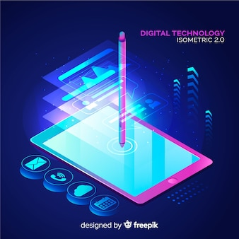 Digital technology background in isometric style