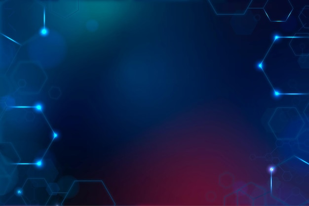 Digital technology background vector with hexagon frame in blue tone