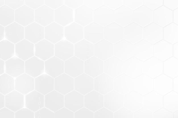 화이트 톤의 육각형 패턴으로 디지털 기술 배경 벡터