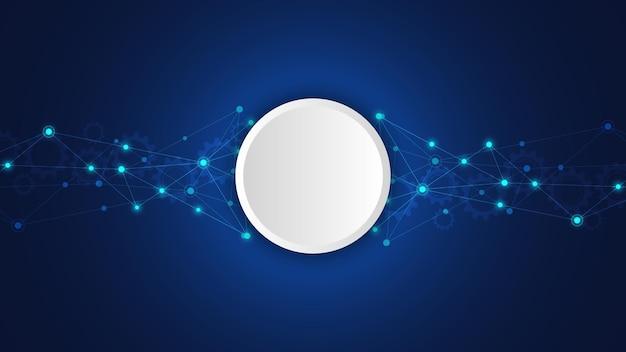 점과 선을 연결하는 디지털 기술 배경. 네트워크 연결 및 통신의 추상적인 기술적 배경입니다.