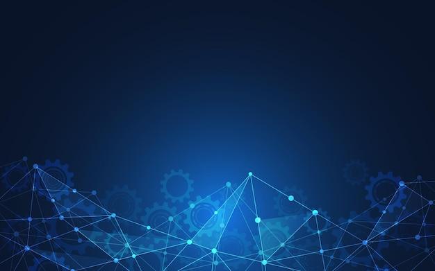 Фон цифровых технологий с соединительными точками и линиями. абстрактный технический фон сетевого подключения и связи.