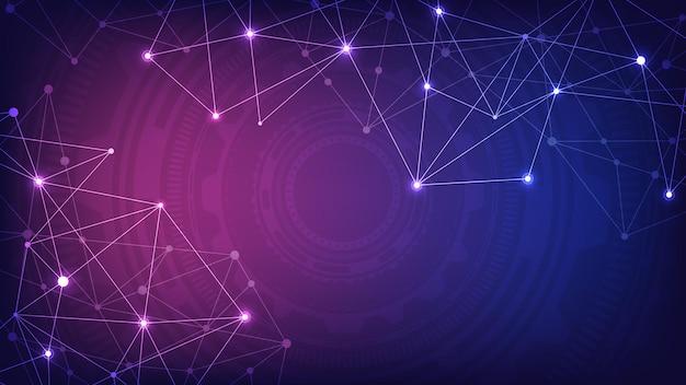 Фон цифровых технологий с соединительными точками и линиями