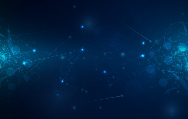 Digital technology background with glowing lines mesh