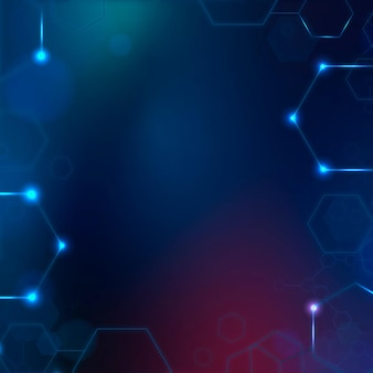Digital technology background with hexagon frame in blue tone