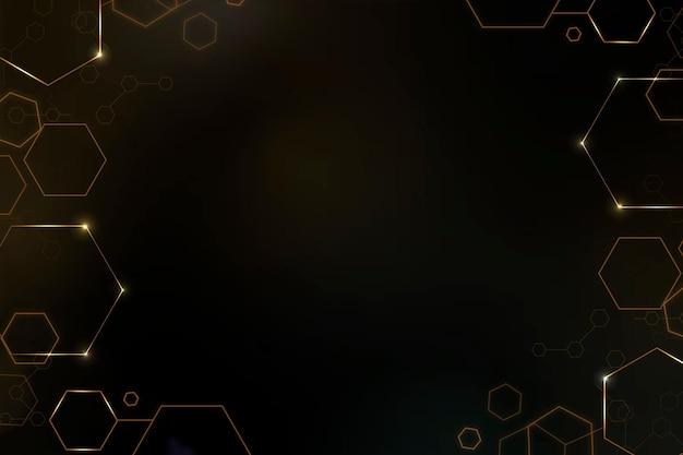 ゴールドトーンの六角形フレームとデジタル技術の背景