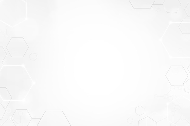 Digital technology background with hexagon frame in white tone