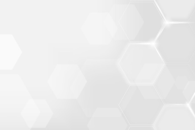 Digital technology background with hexagon pattern in white tone