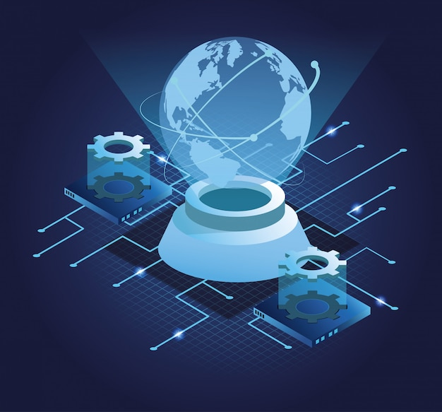 Digital technology blue symbols