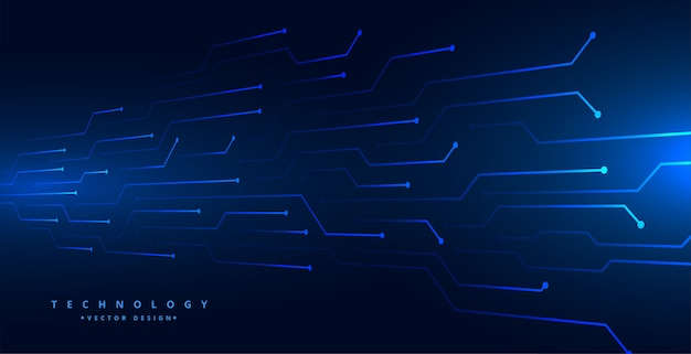 Digital technology circuit lines mesh blue background design