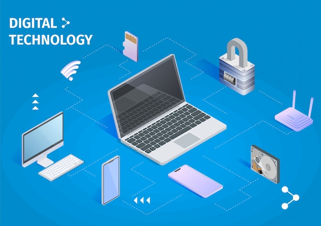 Digital technology. cloud computing storage