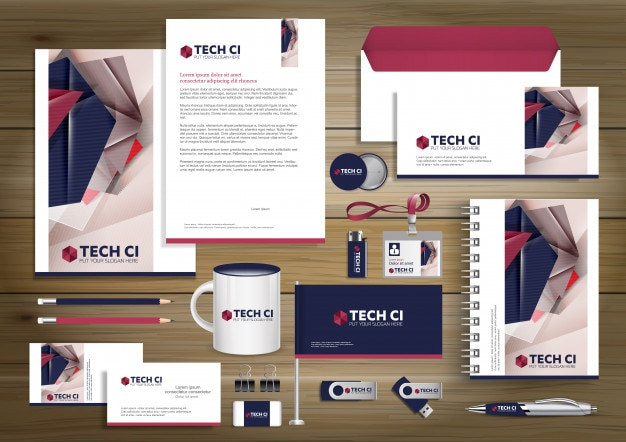 Digital technology corporate identity, gift items template design mock up. stationery