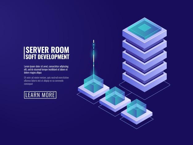Цифровые технологии, сервер данных, облачное хранилище, шифрование и безопасность, значок базы данных