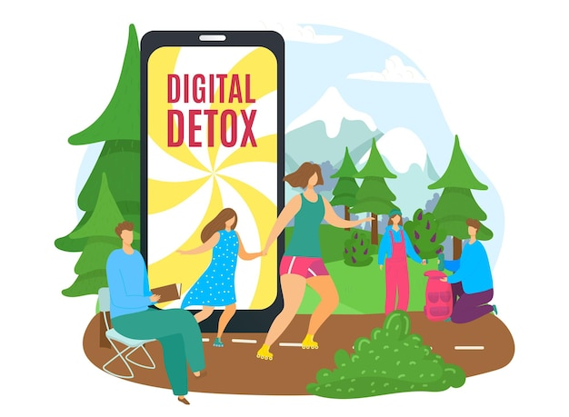 Digital technology detox without internet vector illustration flat man woman character leave device ...