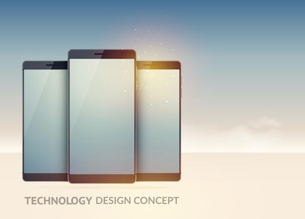Концепция цифровых технологических устройств с реалистичными современными смартфонами на изолированном свете