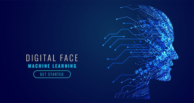 Digital technology face artificial intelligence