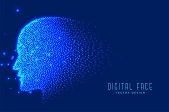 粒子で作られたデジタルテクノロジーの顔