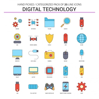 Digital technology flat line icon set