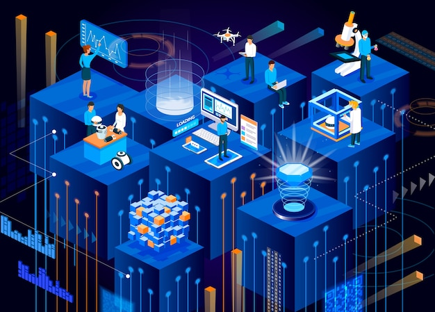 Digital technology of future isometric .