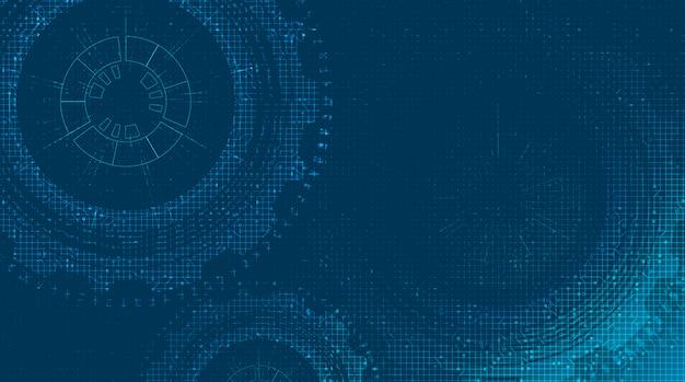 Цифровые технологии gears колесо и петух с фоном линии цепи.