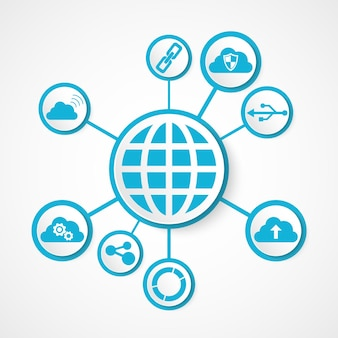 Digital technology globe integrated with icons