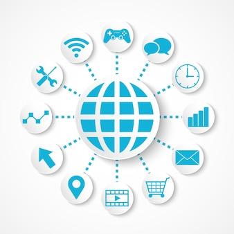 Глобус цифровых технологий, интегрированный с иконками