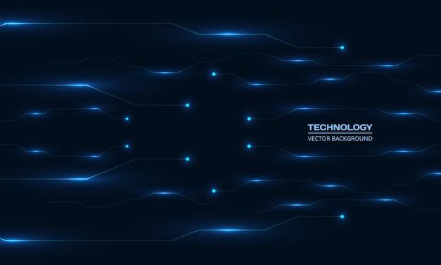 青い回路基板ラインの抽象的な背景を光るデジタル技術