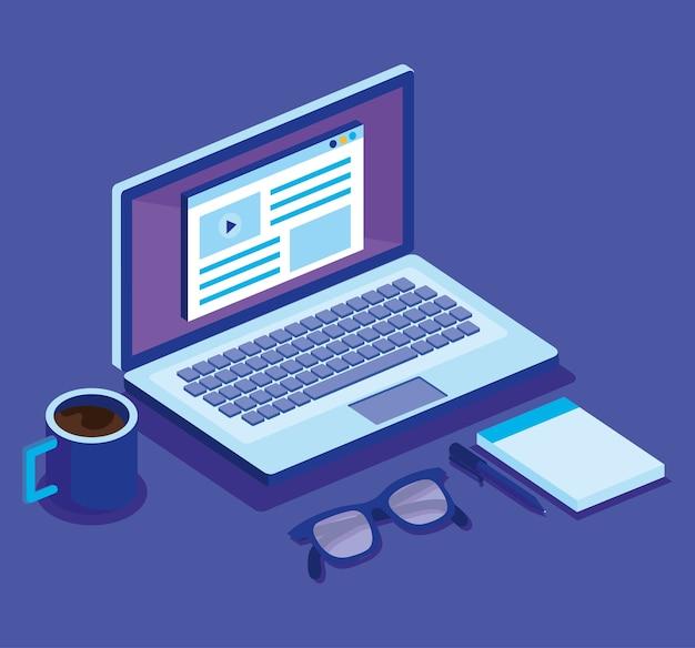 Цифровые технологии изометрические иконки