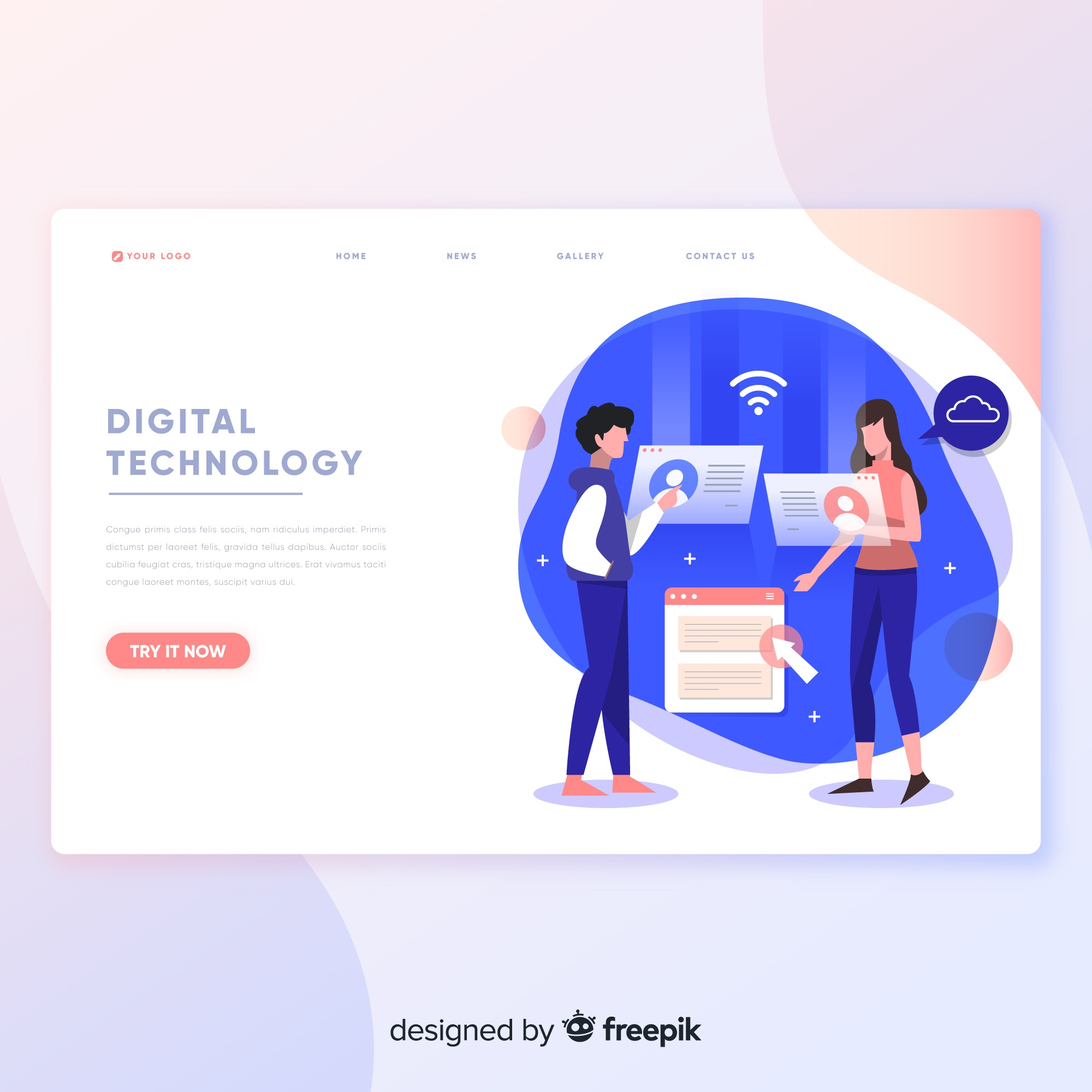 Digital technology landing page template