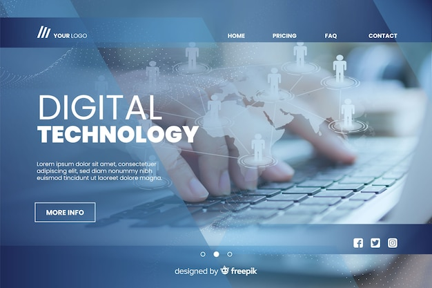 Digital technology landing page with photo